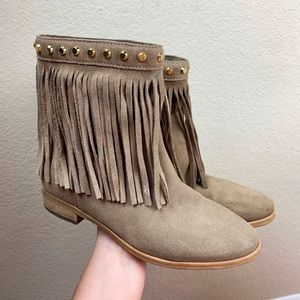 Michael Kors Fringe Ankle Bootie Gold Studs Taupe